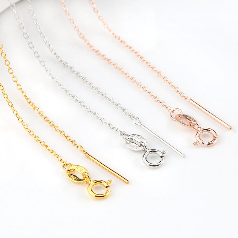 40cm(16inch) 45cm(18inch) Fashion 925 Sterling Silver/gold/rose Gold Jewelry Cross Chain For Women Necklace Jewelry Accessories