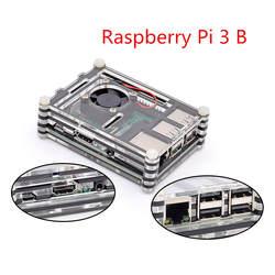 Raspberry Pi Дело 9 слоев акрилового корпус с охлаждающим вентилятором для Raspberry Pi 3 Модель B (без Raspberry Pi доска)