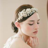 Handmade Bridal Women Fashion Hair Pins Accessory Headband White Flower Crystal Bands Wedding Accessories Romantic O001