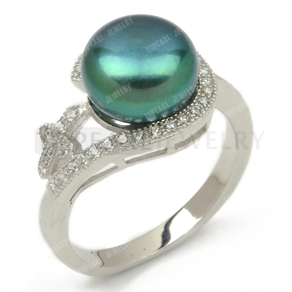 Topearl Jewelry Peacock Green 9 9 5mm Pearl Cubic Zirconia Cross 925 Sterling Silver Ring SFR103