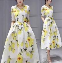 Japanese and Korean style women summer dress half sleeve organza lemon printing slim long dress ZX-108