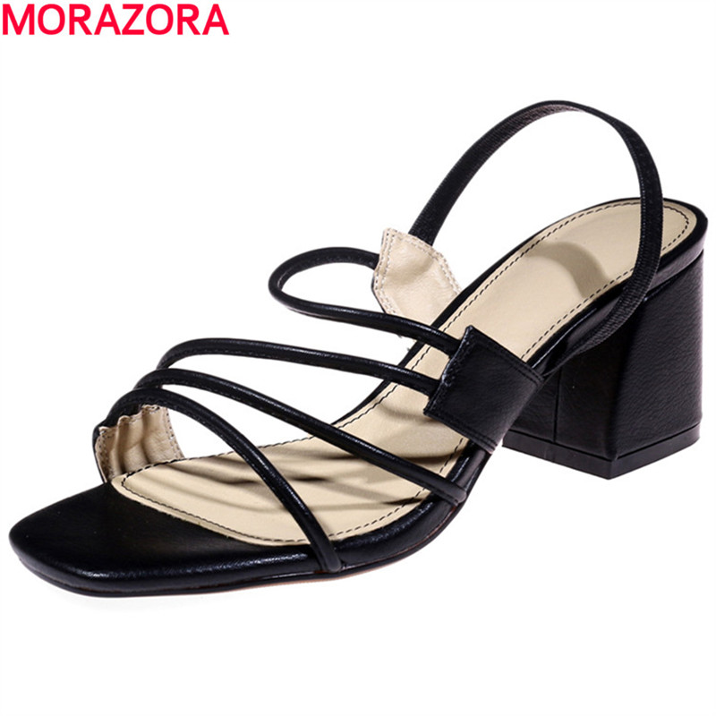 MORAZORA popular New arrive simple shoes in summer high heels sandals women shoes pu+genuine leather shoes fashion party morazora bind pu solid high heels shoes 5cm in summer fashion elegant party shoes sandals party large size 34 42