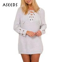 2016 Autumn Winter Knitted Sweater Women Sweaters And Pullovers Sexy V Neck Lace Up Causal Loose