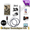 8mm 720P 2M/5M/10M OTG 2in1 Android USB Endoscope mini Camera 6LED USB Snake Tube Inspection  Borescope security camera
