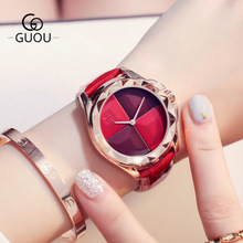 New Products Women Watches Luxury Gold Analog Quartz Watch 2018 Top Brand GUOU Leather Ladies WristWatch relogio feminino