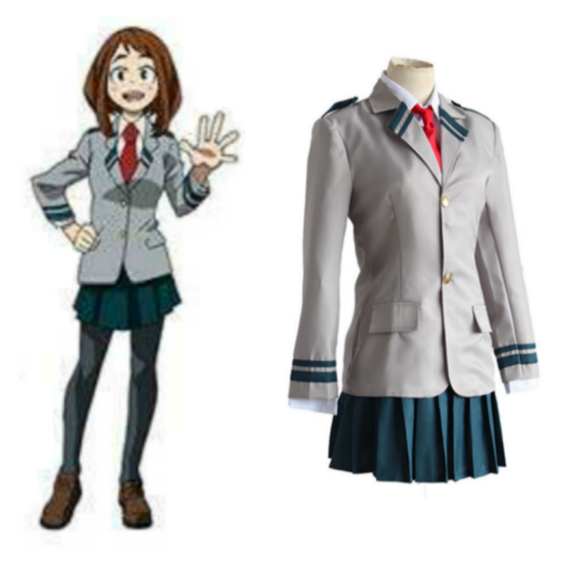 School Uniform Wigs Anime Cosplay for Ochaco Uraraka for Boku No Hero Academia Japanese in Halloween Costume Adult Women Dress