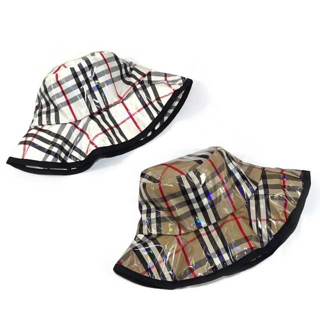 MinanSer Transparent PVC coating Bucket Hats Women Harajuku plaid PVC Cap  Men s Sunshade Fashion Show checked Bucket hat a15b44059ce