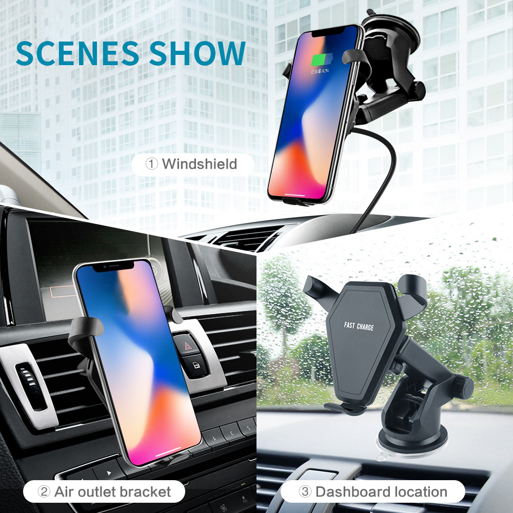 ATORCH Car Mount Qi Wireless Charger For iPhone X Plus Samsung S9 S8 10W Fast Wireless Charging Air Vent Car Phone Holder Stand