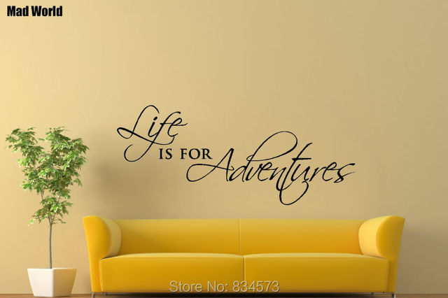 Mad World Life is for Adventures Quote Wall Art Stickers Wall Decal ...
