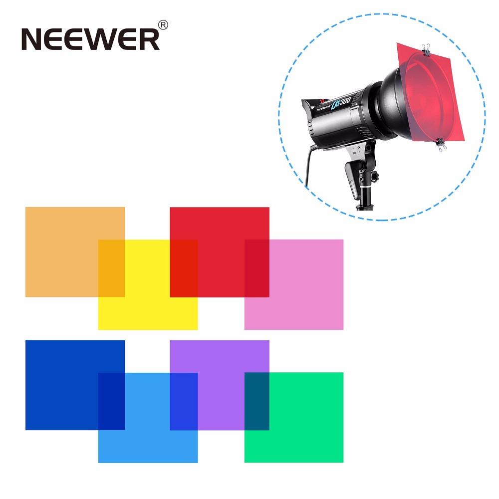 Neewer 30 x 30 cm Pack of 8 Transparent Color Correction Lighting Gel Filter in 8 Different Colors