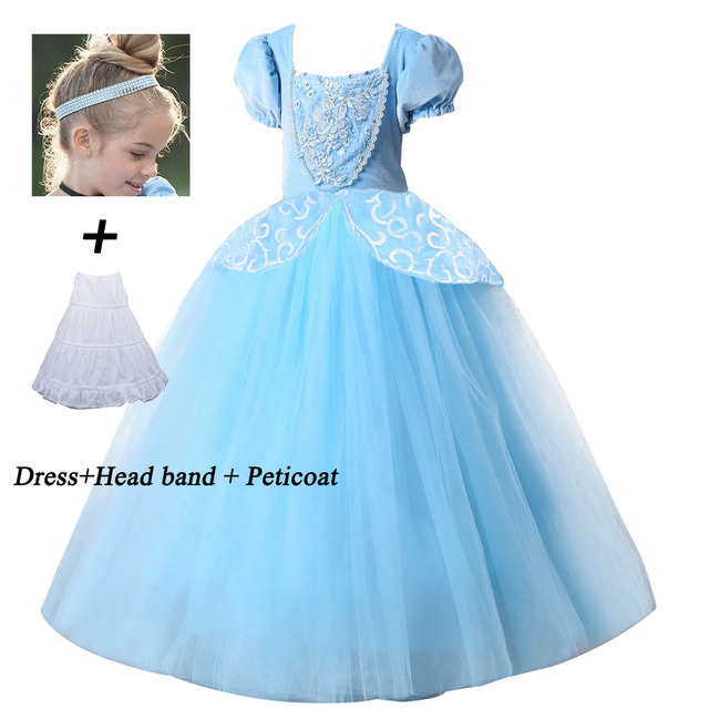 Christmas Princess.Us 5 74 18 Off 2018 Christmas Princess Cinderella Dress Girls Blue Long Dress Costume Princess Party Dresse Ball Gown Cosplay Costume In Dresses