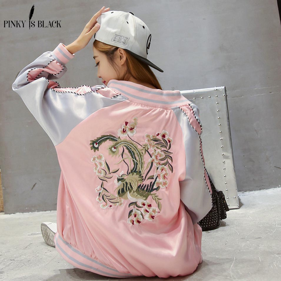 Pinky Is Black Vintage embroidery   basic     jacket   coat Spring 2018 street satin bomber   jacket   Women reversible baseball   jackets