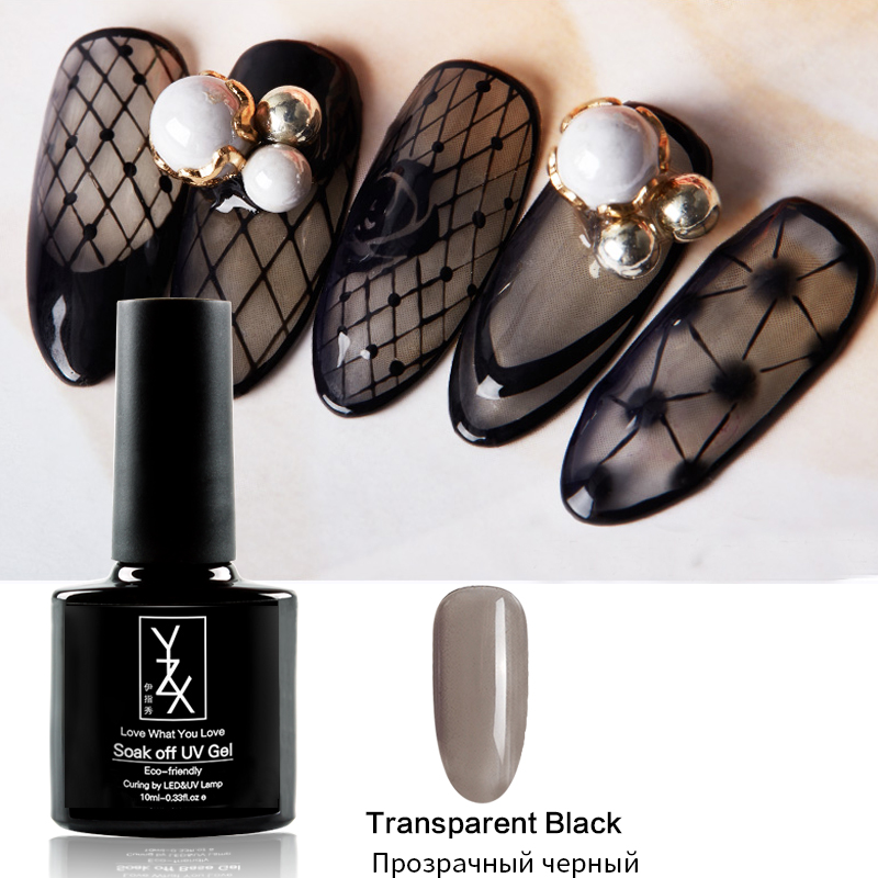 YiZhiXiu 1pcs 10ml Transparent Black Net Enamel Soak Off UV Gel Nail Polish Creativity Varnish Pure