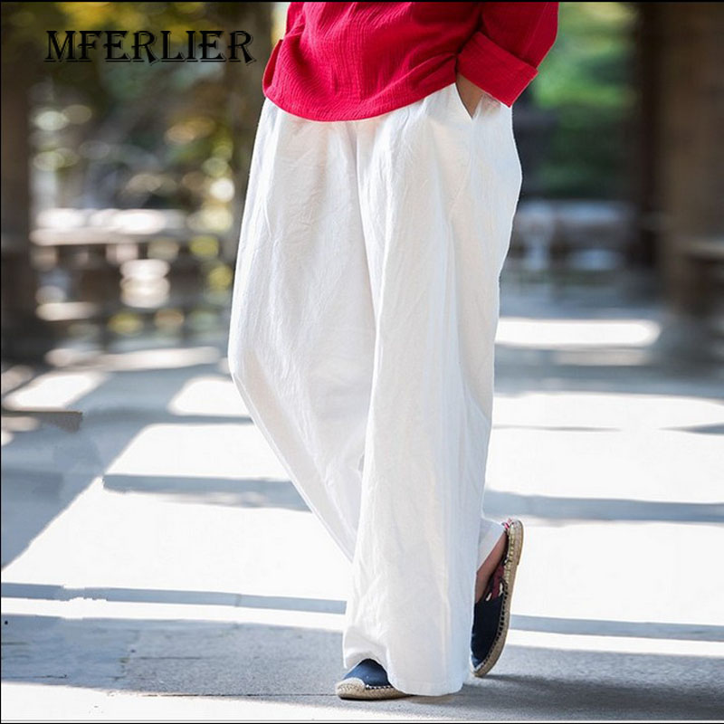 Summer Trousers Women 2017 Loose Casual   Wide     Leg     Pants   Solid Color Full length Elastic Waist Linen   Pants   With Pocket