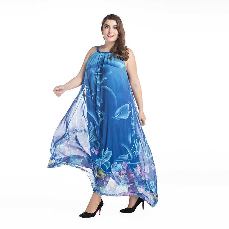 2019 Bohemian Kadınlar yaz elbisesi Slash Boyun Halter Şifon Elbise Uzun Artı Boyutu 7XL Baskı Çiçek Maxi Elbise Vestido Longo