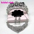 Grogeous piedras imitar crystal tiara nupcial del pendiente de plata wedding party choker collar sistemas de la joyería