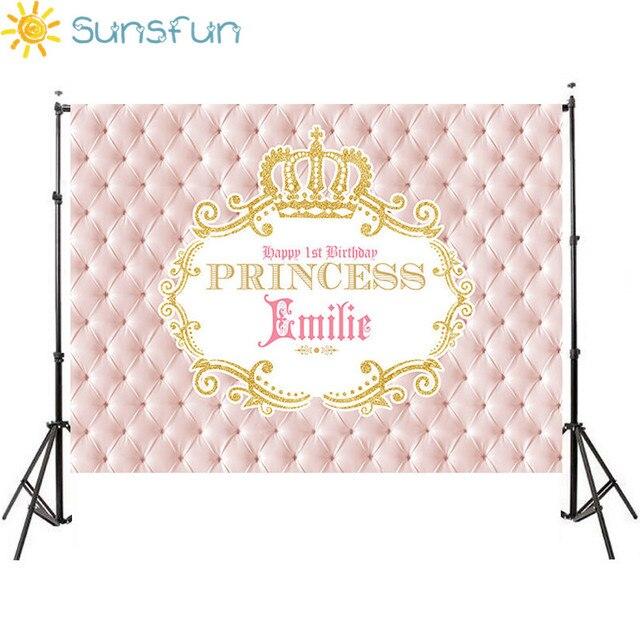 Sunsfun 7x5ft Pink Gold Crown Happy Birthday Girls Baby Shower