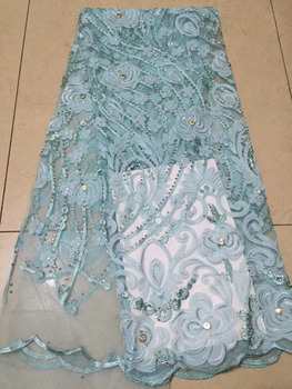 Latest New Embroidery Tulle Net Lace Big Stones French Lace Fabric For Party Dress Wholesale High Quality Africa Lace Wedding