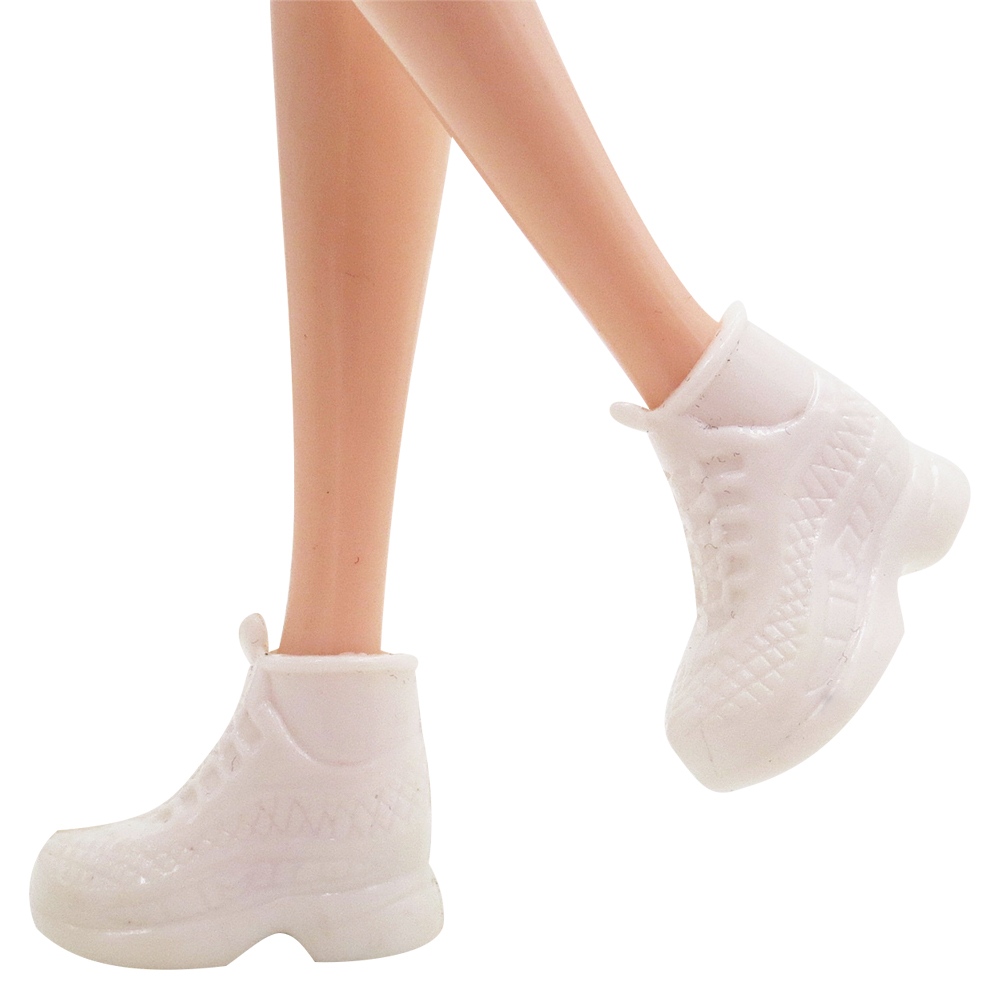 NK 5 Pairs/Set Doll White Shoes Cute  Fashion Running Shoes For Barbie Doll High Quality Baby Toy Accessories 001A DZ