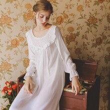 Autumn Nightgown Sleepwear Long Sleeve Nightgown Girl Women Nighty White Pink Nightdress Ladies Nightwear Home Dress Comfortable