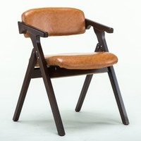 Dining Room Folding Chair Wood Material PU Leather Seat And Backrest Restaurant Hotel Stool Retail