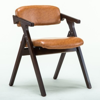 Dining Room Folding Chair Wood Material PU Leather Seat And Backrest  Restaurant Hotel Stool Retail And