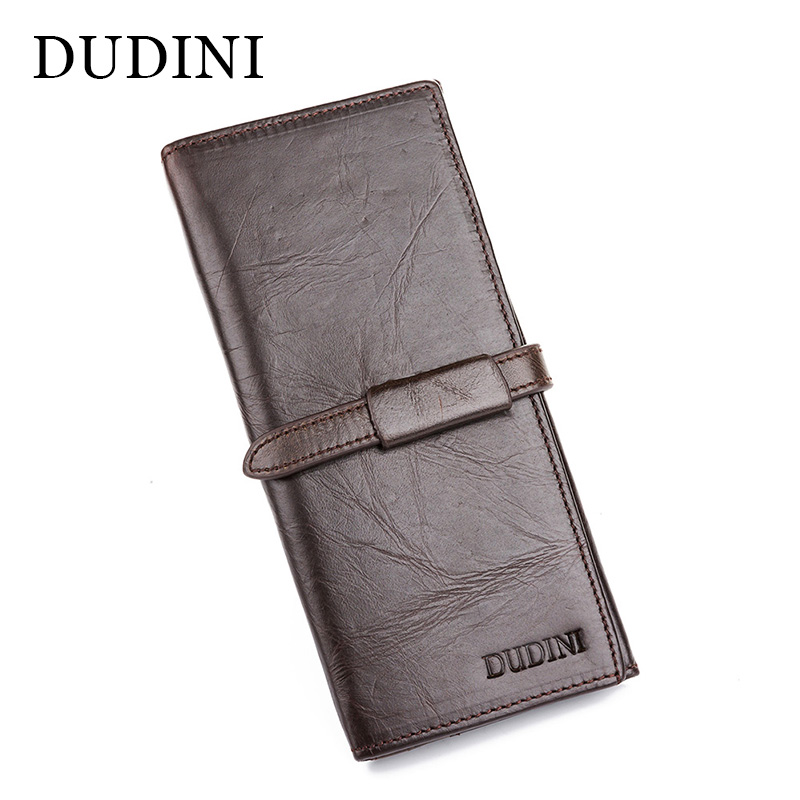 [DUDINI] Handmade Male Genuine Cowhide Leather High Quality Men Long Wallet Casual Coin Purse Vintage Designer Carteira Wallets high quality men genuine leather organizer wallet vintage cowhide clasp card holder coin purse vintage carteira masculina 1011