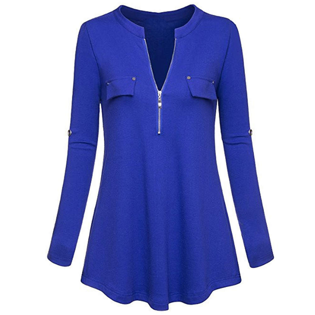 Women Shirt Fashion Knitted Pure Color Solid Long Sleeve Zipper V Neck Female Tops Tunics Pullover T-shirt