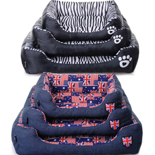 Luxury Comfortable Dog Bed Pet Cat Puppy Bed Cover Reversible Rectangle Sofa Pattern Waterproof Bottom With Dog Paw Printing