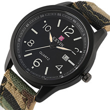 Casual Man Watches Millitary Green-Color Red/army Clock Leather-Band Quartz Luxury Men