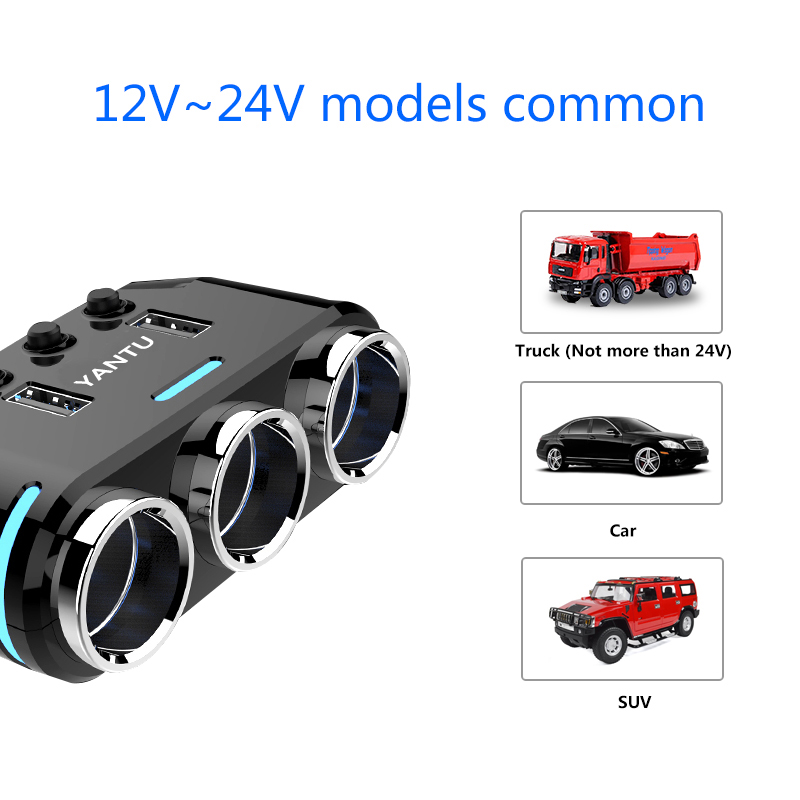 geekoplanet.com - 12V/24V 100W 3 Way Auto Sockets Car Cigarette Lighter