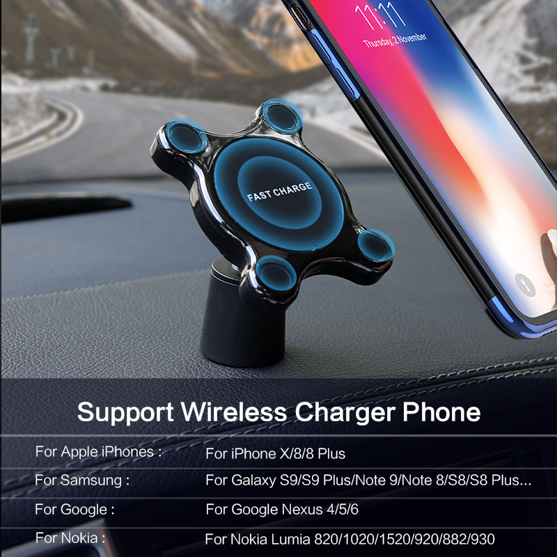 Image 5 - FLOVEME Car Mount Qi Wireless Charger For Samsung Galaxy S9 S10 S8 Note 9 Wireless Charging Car Phone Holder For iPhone XS MAX X-in Mobile Phone Chargers from Cellphones & Telecommunications