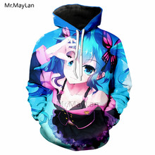 Harajuku Anime Hatsune Miku 3D Printed Hoodies Men/women Hipster Casual Long Sleeve Hat Sweatshirts Girls Fashion Loose Jackets