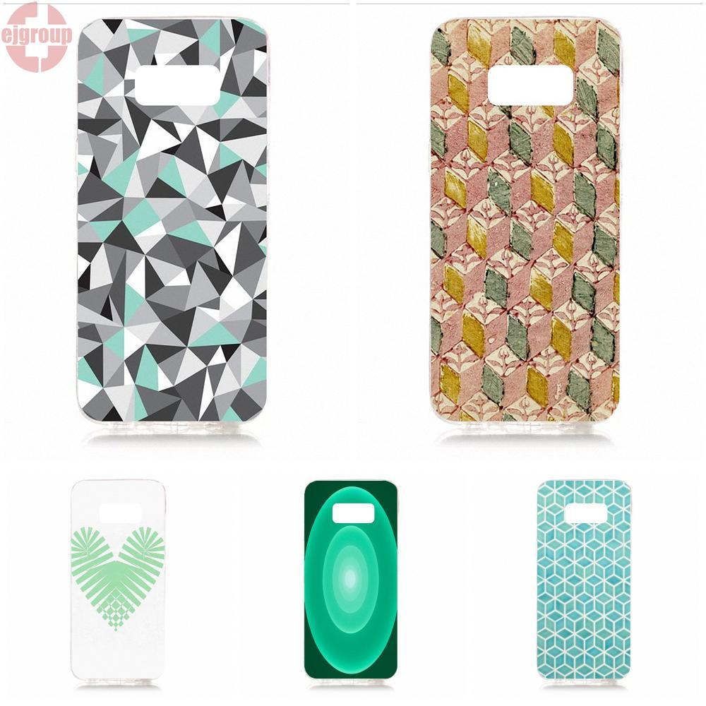 EJGROUP Mint Green Geometric Lovely Soft TPU Silicon Live Love Phone For Samsung Galaxy S8 5.8 inch G950 G950F SM-G9500