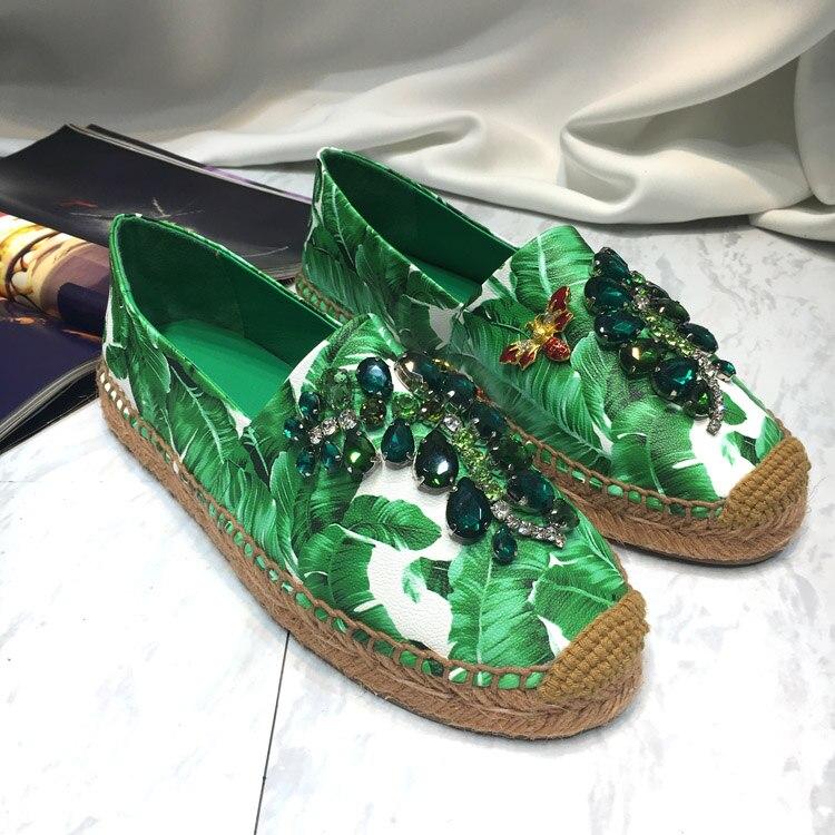 Bout As Pêcheur Profonde Chaussures Printemps Été Pic Rond Peu Chic Vert Paresseux Confortables Glissement Femme Appartements Sur Imprimé Occasionnel wTvZRqZf