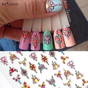 Image 1 - 1 feuille 3d Nail Art autocollant adhésif autocollants outil bricolage ongle décoration outil en relief fleur autocollant