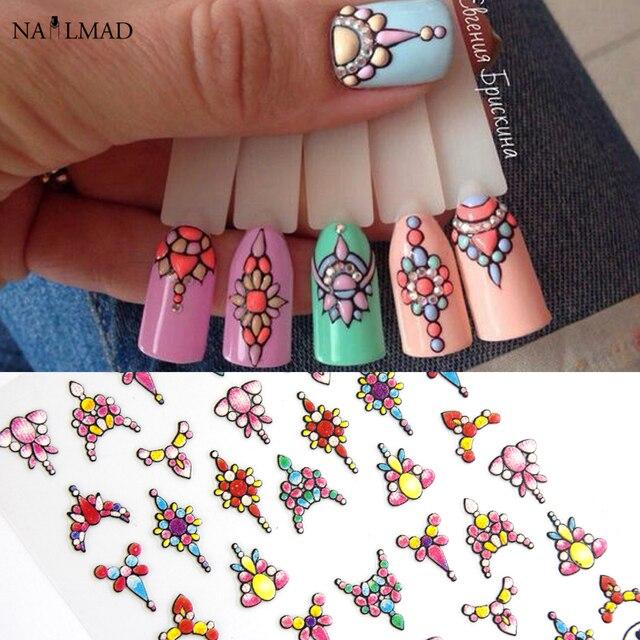 1 feuille 3d Nail Art autocollant adhésif autocollants outil bricolage ongle décoration outil en relief fleur autocollant