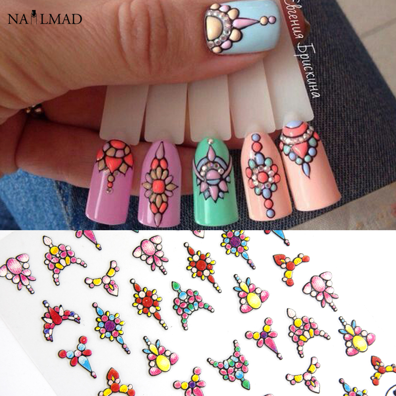 1 sheet 3d Nail Art Sticker Adhesive Sticker Decals Tool DIY Nail Decoration Tool Embossed Flower Sticker-in Stickers & Decals from Beauty & Health