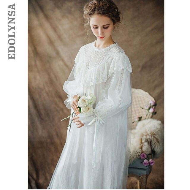 Femmes dames Style victorien à manches longues Vintage blanc solide dentelle chemise de nuit grande taille vêtements de nuit Lingerie robe grande taille T26