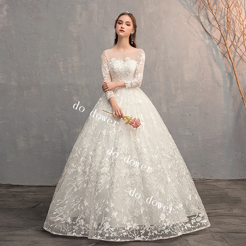 Do Dower 2019 Lace Up Ball Gown Long Sleeve Lace Wedding Dresses Vestido De Noiva Customized