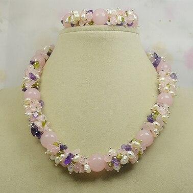 d562b7c63576 Pulsera de collar de piedra, perlas de olivino Rosa mezcla colgante,  joyería de Gema perfecta hecha ...