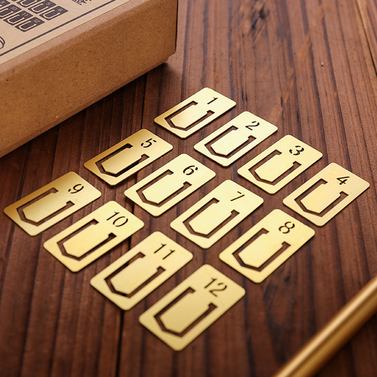12 Pieces / Lot Hot Sale Memo Metal Clip For Notebook Diary Retro Copper Index Clamp Label School Stationery Gift Bookmark