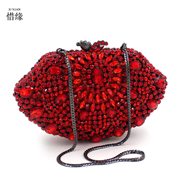 XIYUAN BRAND Diamond Crystal Mini Evening Party Bag Women Day Clutches Ladies Chain red Clutches Purses Handbag shoulder bags