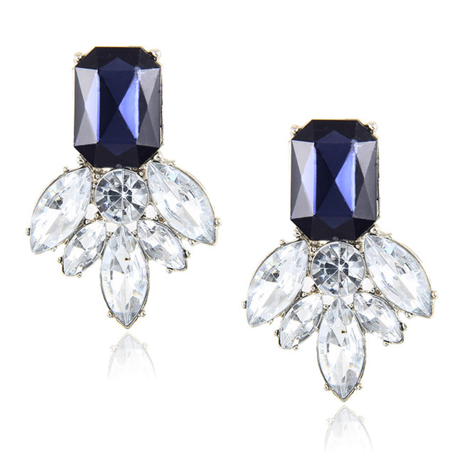 H20 Fashion Jewelry Black Blue Crystal Rhinestone Drop Earrings Red Pink Flower