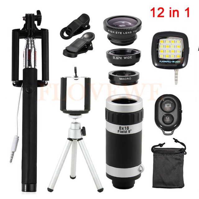 12en1 Kits ojo de Pez ojo de Pez de Gran Angular Macro Lente para teléfonos lente de Zumbido 8x Teleobjetivo Lentes Clips Holder Monopod Trípode Flash luz