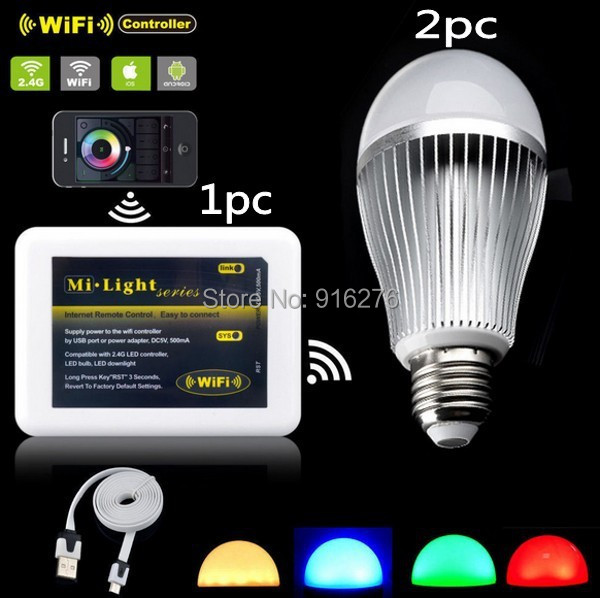 Mi light E27 9W RGBW RGB + Warm White Led Bulb dimmable lamp Wifi ibox Controller Support iPhone iOS Android APP