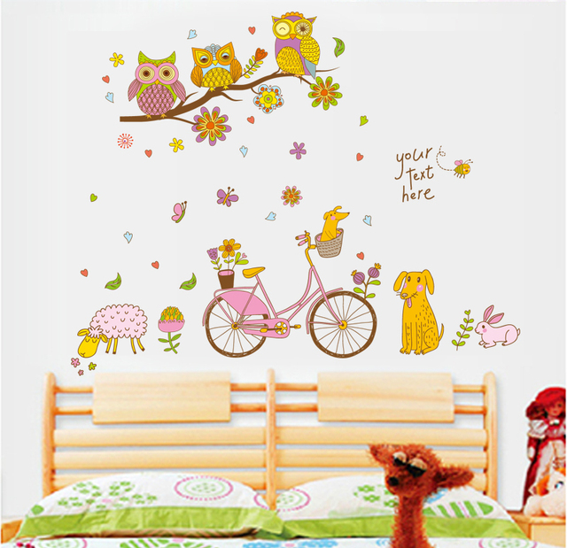 Owls Bicycle Sheep Flowers Wall Sticker For Kids Rooms Cartoon Animals Baby Nursery  Wall Decor Stickers Part 98
