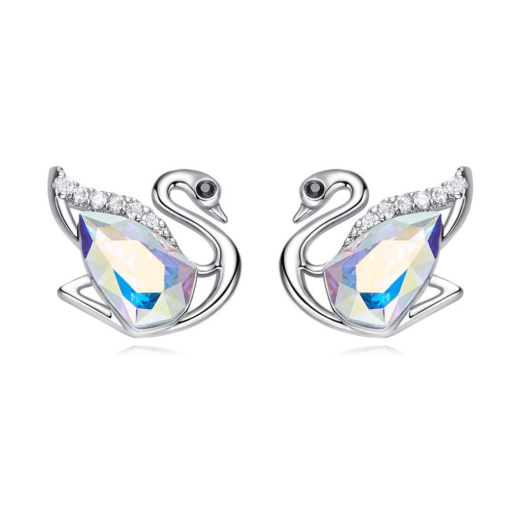Heezen élégant cygne en forme de boucles d'oreilles AB couleur dames boucles d'oreilles Bijoux de mode autrichien strass boucles d'oreilles Bijoux pour les femmes