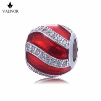 Red enamel ribbon 925 Sterling Silver beads charms fit Bracelets Never change color DDBJ096