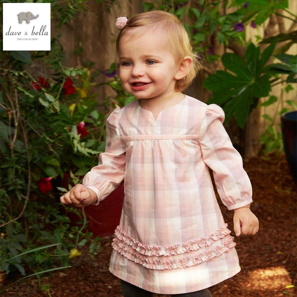 DB3751dave bella spring autumn baby girl pink Princess dress infant clothes girls cotton sweet dress цены онлайн